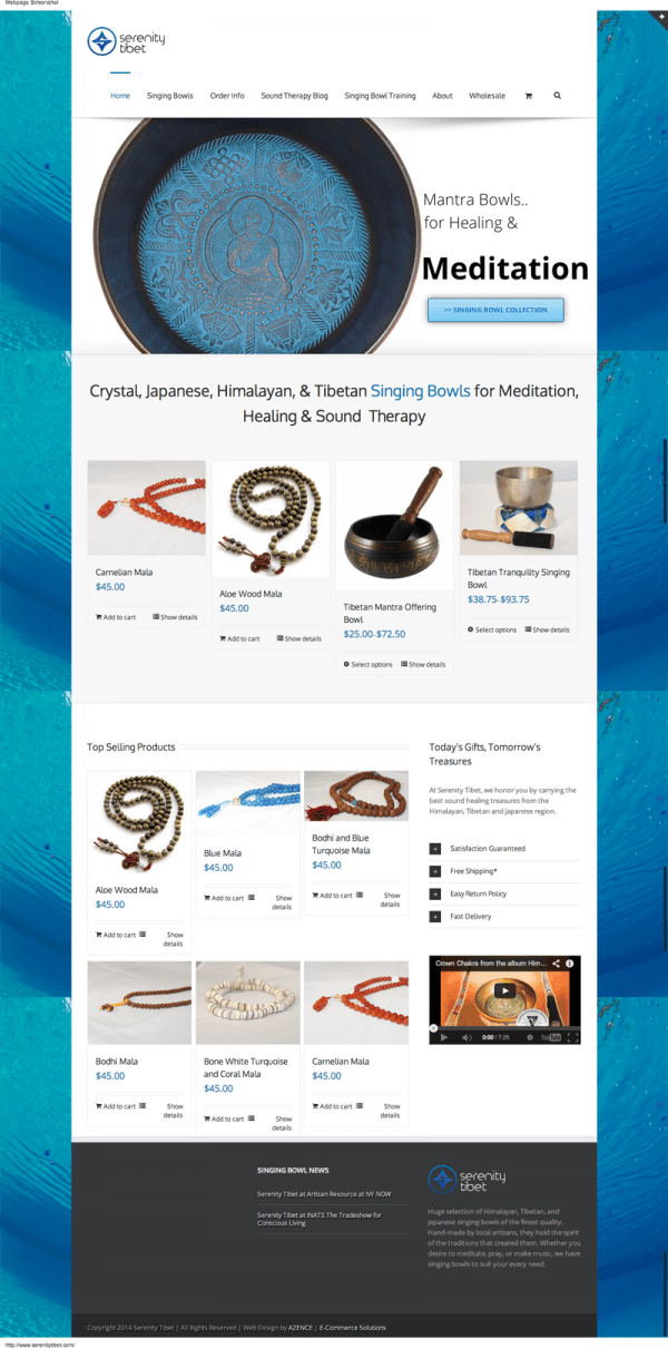 Azence designed E-Commerce shopping website for Serenity Tibet Singing Bowls