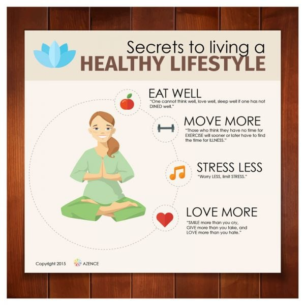 Eat well, move more, stress less, love more.
