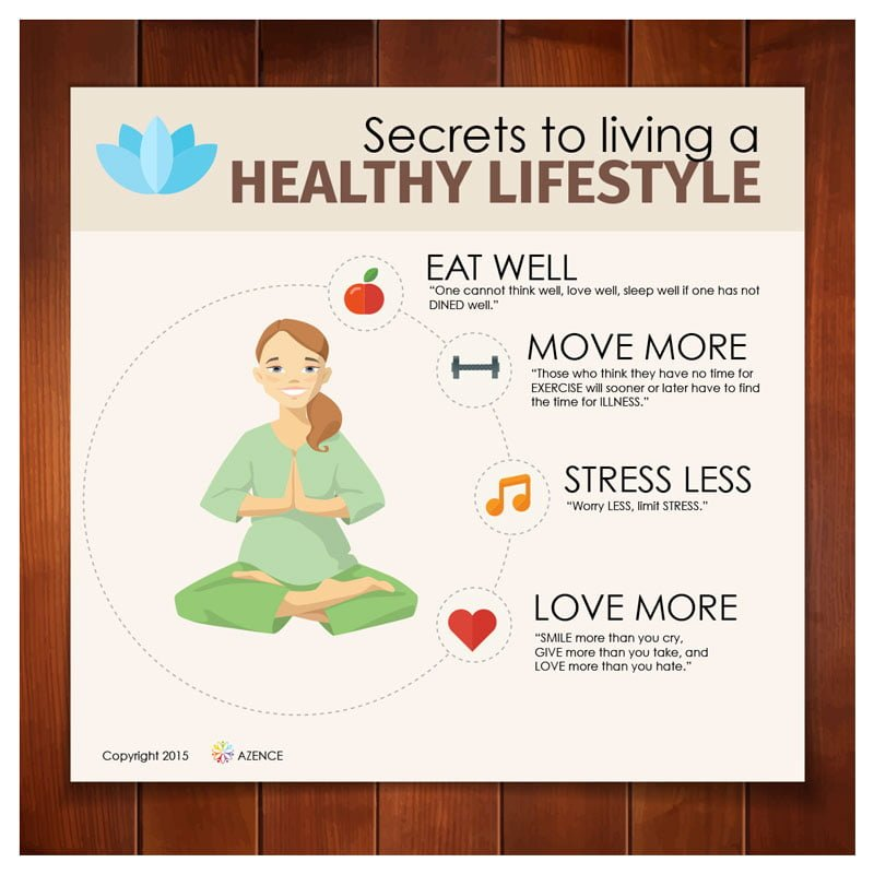 secrets to a healthy lifestyle infographic azence. Black Bedroom Furniture Sets. Home Design Ideas